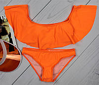Купальник раздельный яркий оранжевый с широким воланом Код243