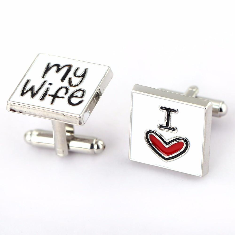 Запонки I love my wife для мужчин которые любят своих жен запонки  Я люблю мою жену