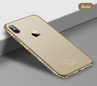 Силиконовый золотой чехол с камнями Сваровски для Iphone Х XS 5.8 дюймов
