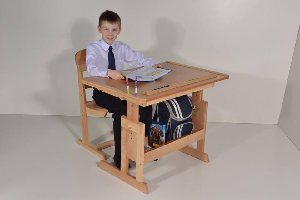 Стол Парта Розумник деревянная растущая для школьника. РК3