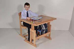 Стол парта Розумник деревянный растущий для школьника. РК3