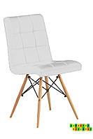 Мягкий стул с деревянными ножками Оскар, белый