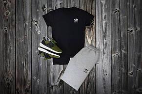 Комплект футболка + шорты Adidas, черный - серый