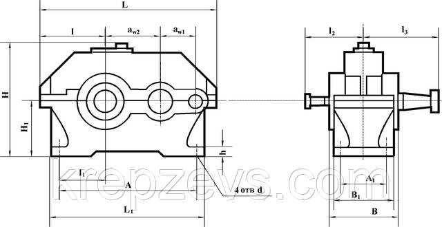 Схема габаритных и присоединительных размеров редуктора 1Ц2У-100