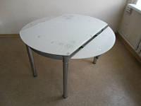 Стол обеденный стеклянный Сандра М бело- розовый, серо-голубой,  рубин100*60 D=100