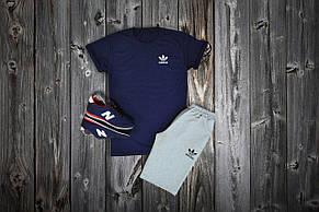 Комплект футболка + шорты Adidas, темносиний - серый
