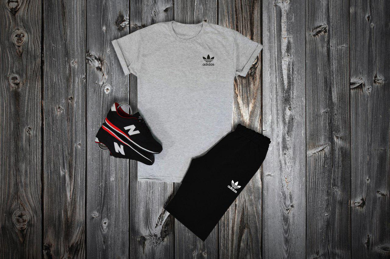Комплект футболка + шорты Adidas, серый - черный