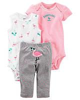 Боди + Боди-майка + Штаны Carters для девочки 6 мес 61-67 см. Комплект из 3-х вещей