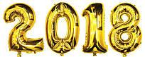 Воздушные шары фольгированные золотого цвета цифры 2018 на выпускной