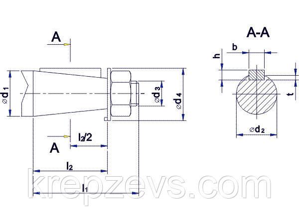 Присоединительные размеры конических валов редуктора 1Ц2У-100