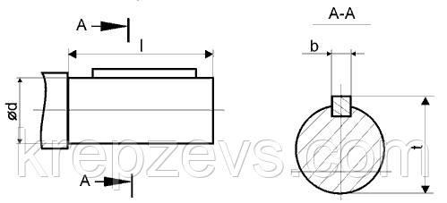 Присоединительные размеры цилиндрических валов редуктора 1Ц2У-100