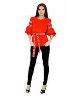 Женская вышиванка Кохання с поясом, красная