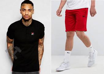 Мужской комплект поло + шорты FILA черного и красного цвета (люкс копия)