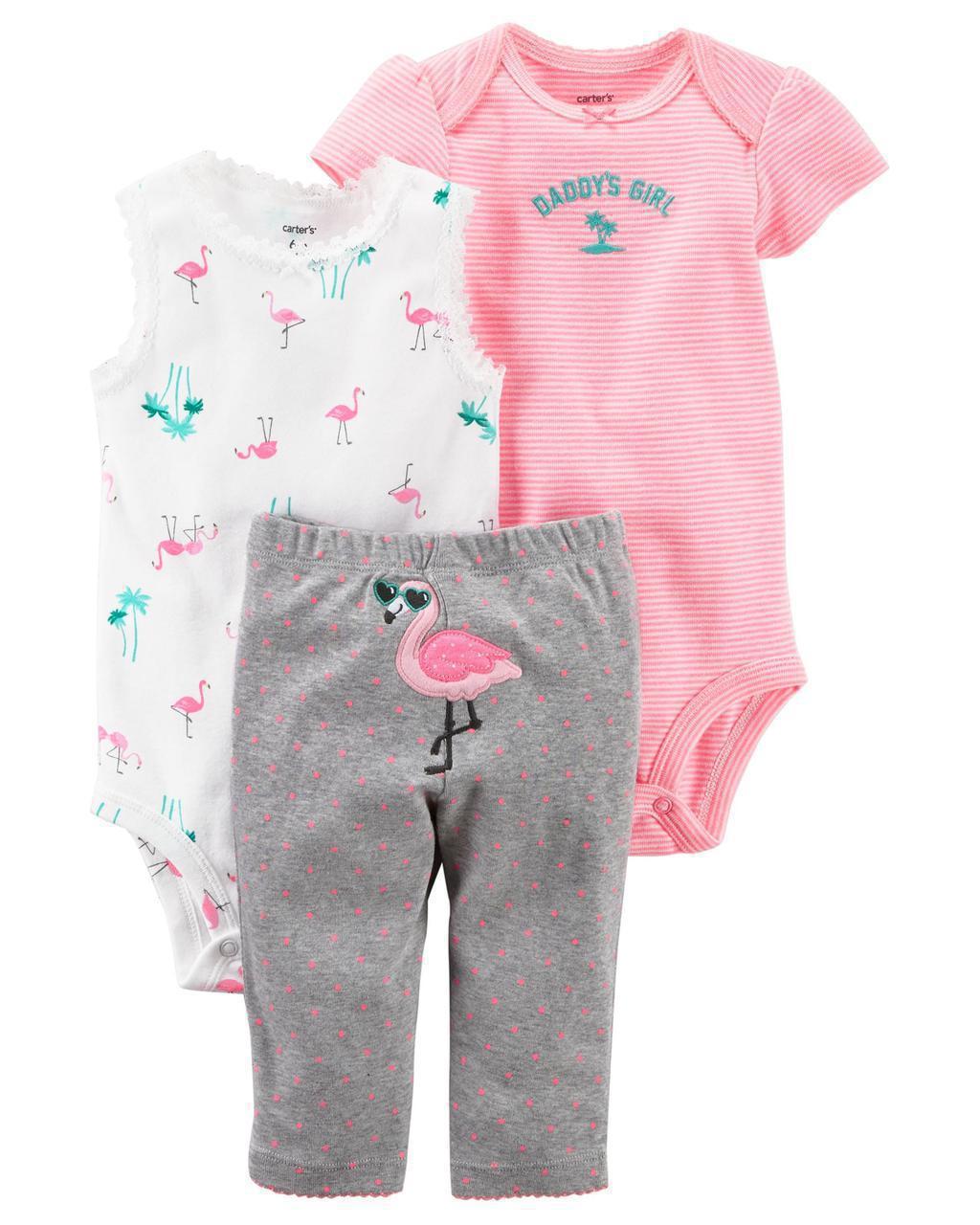 Боди + Боди-майка + Штаны Carters на новорожденную девочку до 55 см. Комплект из 3-х вещей