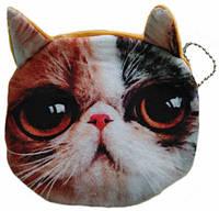 Кошелек детский, мягкий 3D кошка грустная