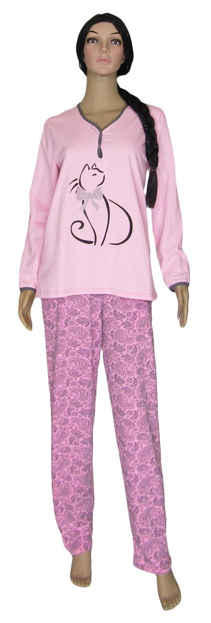 Пижама женская теплая трикотажная 03218-1 Кошка на байке, хлопок, р.р.44,46