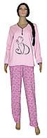 Пижама женская теплая трикотажная 03218-1 Кошка на байке, хлопок, р.р.44,46, фото 1