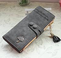 Женский кошелек из нубука Золотой Зонтик большой темно серый, фото 1