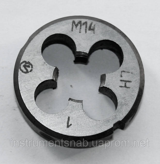 Плашка левая М-14х1,0 LH, , 9ХС, (38/10 мм), мелкий шаг