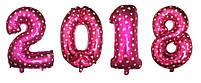 Воздушные шары фольгированные Розовые цифры 2018 на выпускной