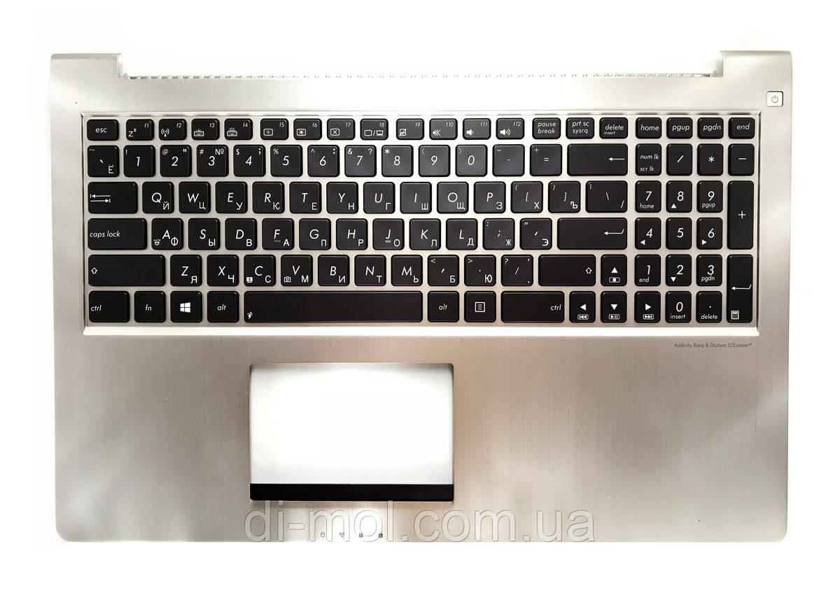Оригинальная клавиатура для ноутбука Asus UX51, U500 series, rus, brown, подсветка клавиш, передняя панель