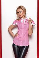 Летняя женская блуза из штапеля розового цвета