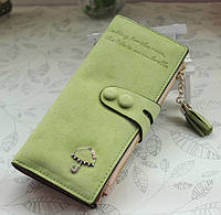 Женский кошелек из нубука Золотой Зонтик большой салатовый, фото 1