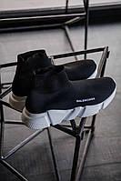 Кроссовки мужские черные летние Balanciaga Speed Trainer Black/White Баленсиага носок