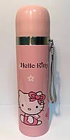 Термос детский SUNROZ Hello Kitty с чашкой и шнурком Желтый 500 мл (SUN0026)
