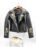 Женская стильная куртка с вышивкой - цветы и молниями (БР-5-0418), фото 1