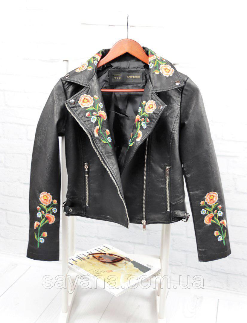 Женская стильная куртка с вышивкой - цветы и молниями (БР-5-0418)