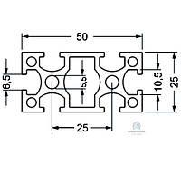 Станочный профиль | Конструкционный, без покрытия, 25х50