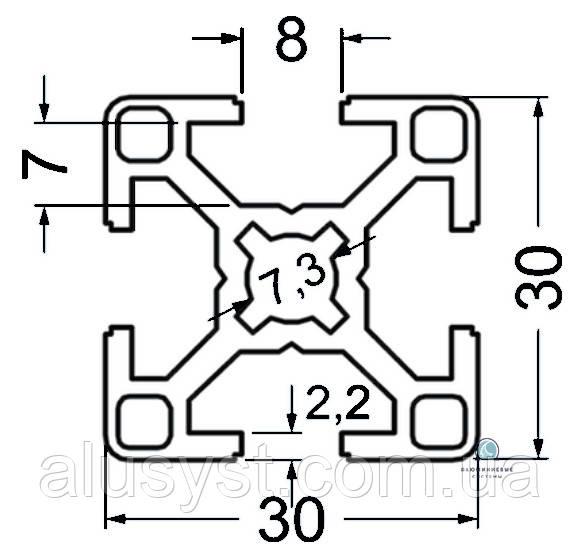 Станочный профиль | Конструкционный, без покрытия, 30х30