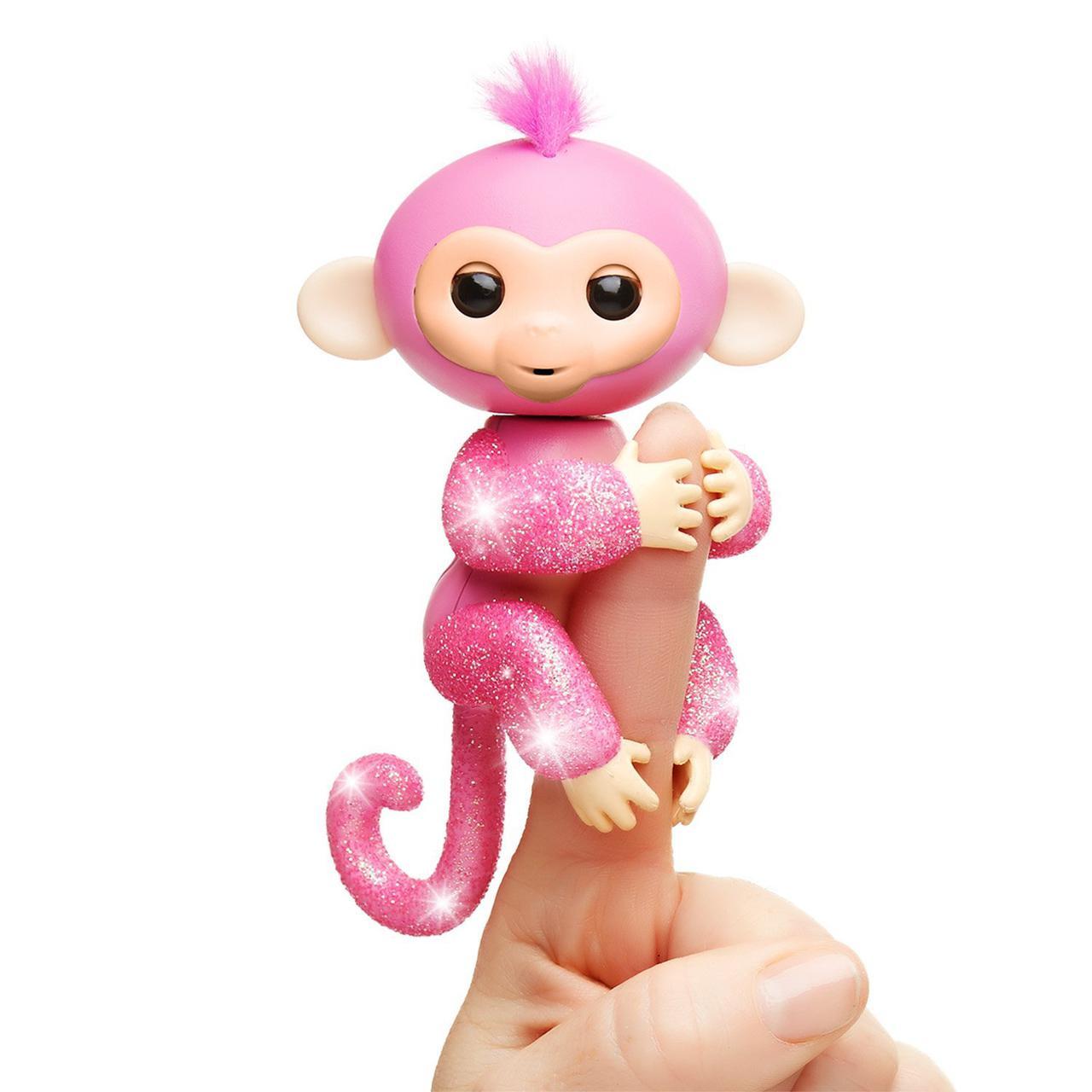 Интерактивная блестящая обезьянка, WowWee Fingerlings Glitter Monkey Rose Оригинал из США