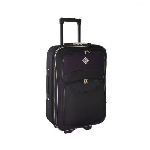 Дорожный чемодан на колесах Bonro Style Черно-темно-фиолетовый Средний