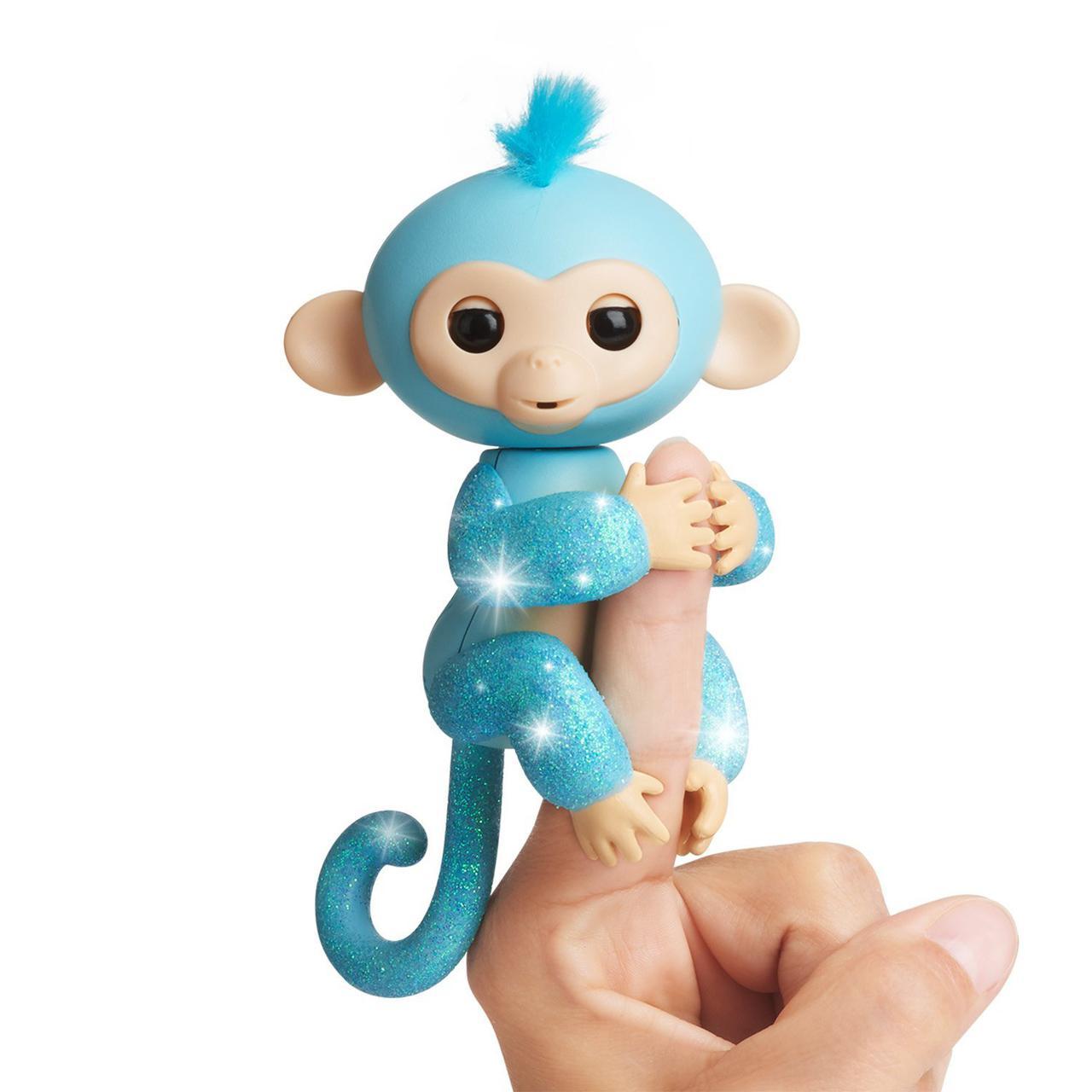 Блестящая обезьянка интерактивная на пальчик, WowWee Fingerlings Glitter Monkey  Оригинал из США