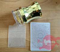 Штамп силиконовый прозрачный с трафаретом, золото