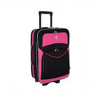 Дорожный чемодан на колесах Bonro Style Черно-розовый Средний, фото 1