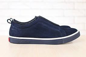 Мужские спортивные туфли-мокасины, синие, из натурального нубука 45