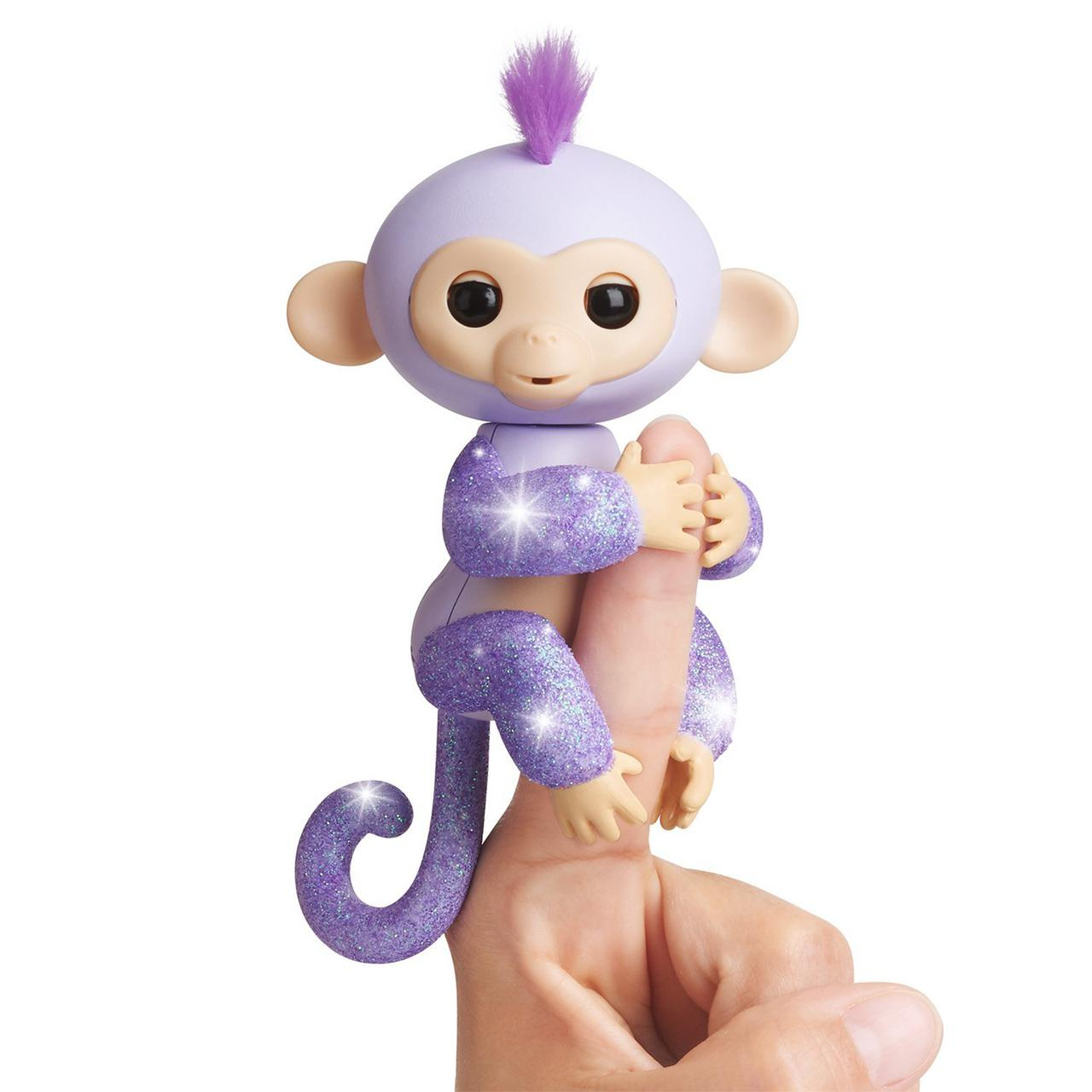 Интерактивная ручная обезьянка на пальчик, блестящая, WowWee Fingerlings Glitter Monkey  Оригинал из США