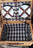 Корзина для пикника на 4 персоны (приборы в комплекте, бежевая)