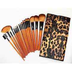 Набор кистей для макияжа 18 шт Make Up Me Леопардовый LEO18
