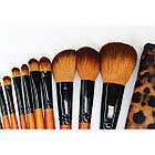 Набор кистей для макияжа 18 шт Make Up Me Леопардовый LEO18, фото 3