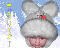 Детская шапочка Мышь белая