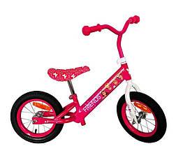"""Велобег 12"""" Розовый. Надувные колеса"""