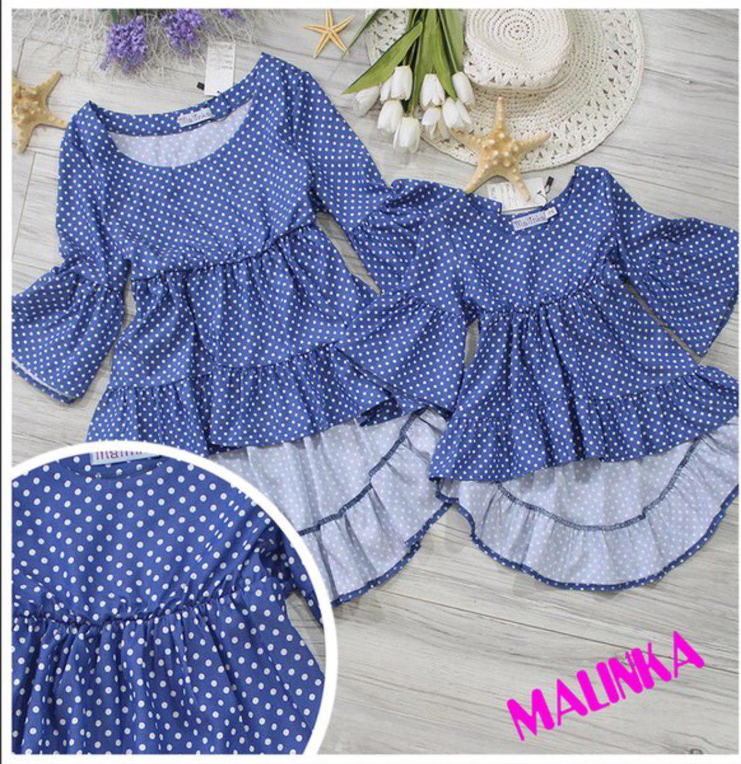Набор одинаковых блузок в горошек мама и дочка