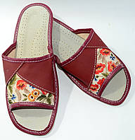 Домашние кожаные женские тапочки