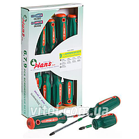 Набор отверток для ремонта HANS (06400-9MG), шлицевые / крестовые, 9 предметов, в картонной упаковке, отвертка шлицевая, отвертка крестообразная