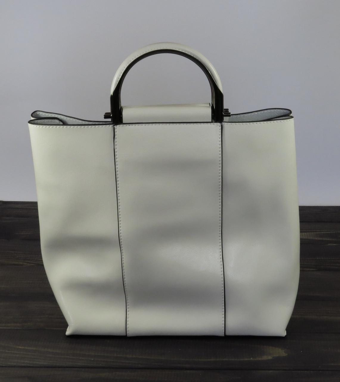 Высокая женская сумка белого цвета