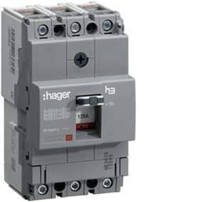 Автоматический выключатель 125А, 4п, 18kA, Тфикс./Мфикс, Hager HDA126L
